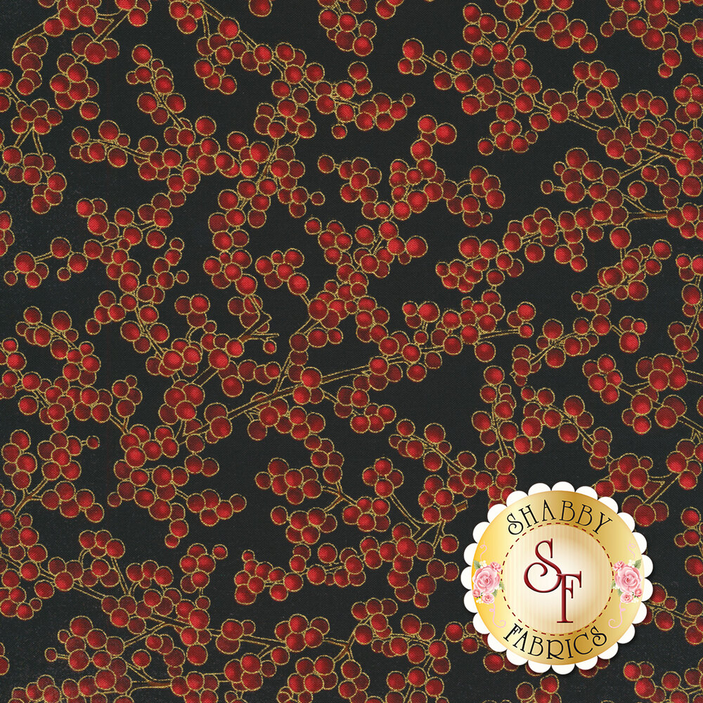 Red berries with gold metallic accents on black | Shabby Fabrics
