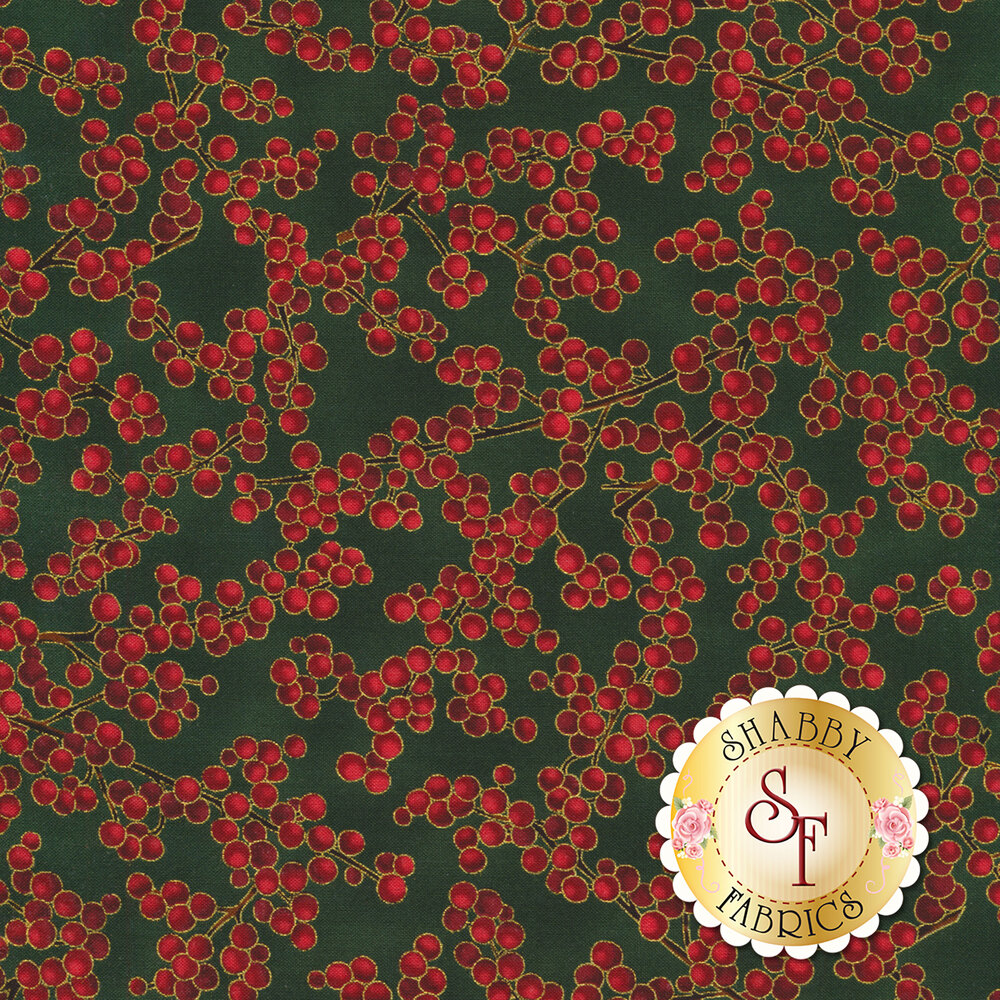 Red berries with gold metallic accents on green | Shabby Fabrics