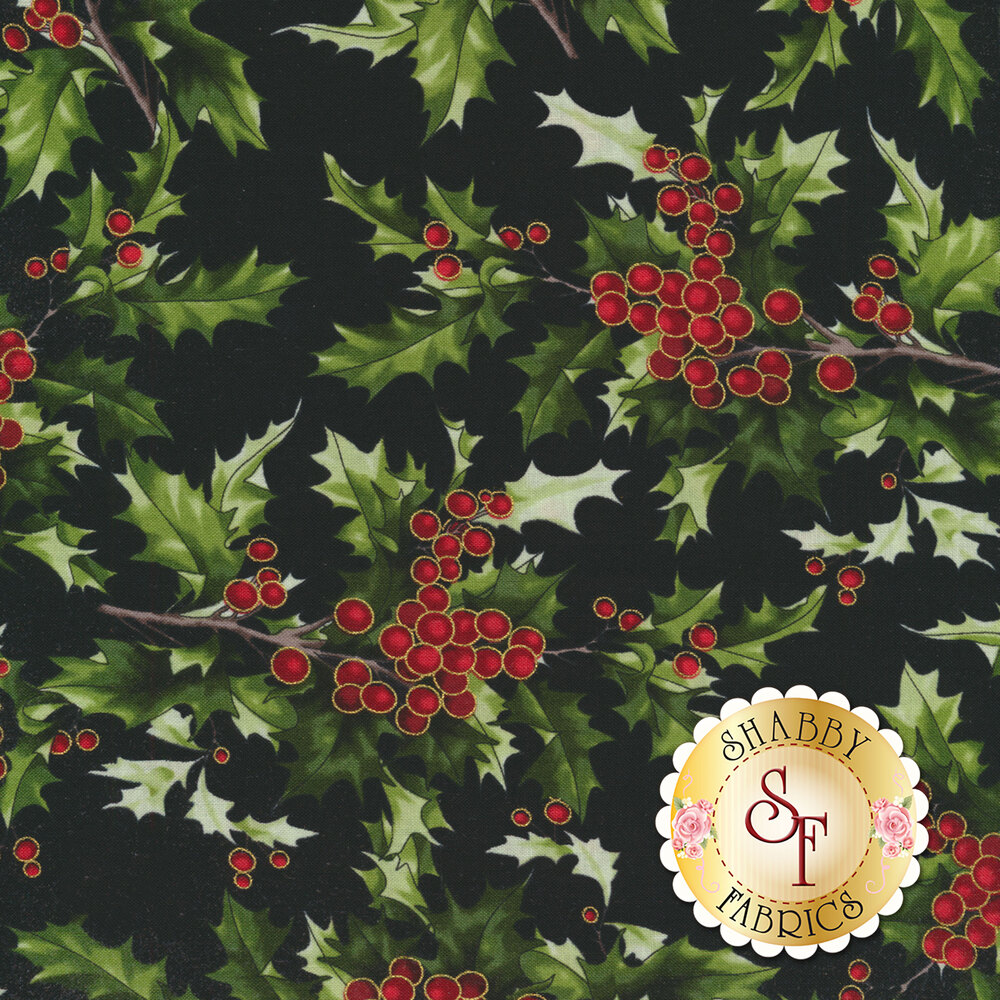 Holly and berries on black | Shabby Fabrics