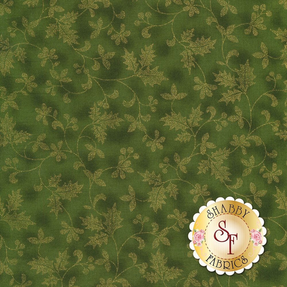 Gold metallic flowers and vines on mottled green | Shabby Fabrics