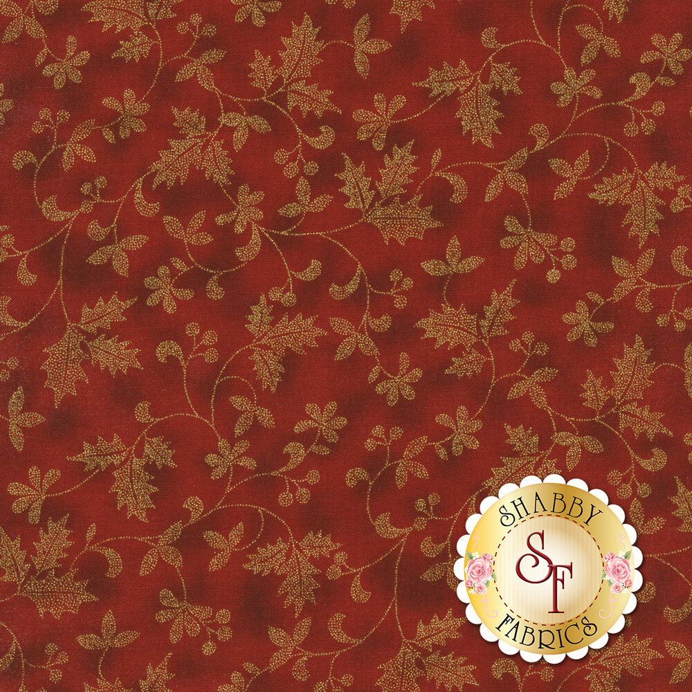 Gold metallic flowers and vines on mottled red | Shabby Fabrics