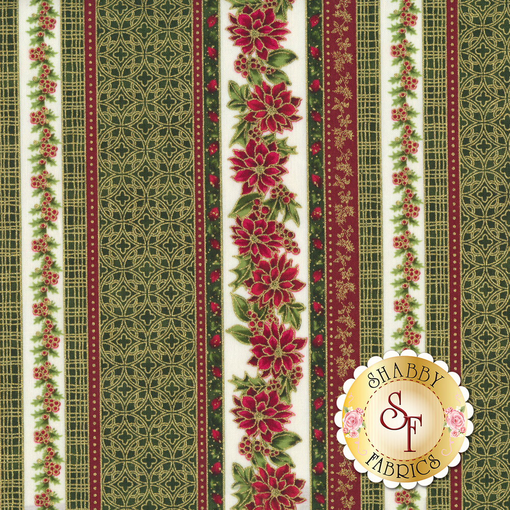 Red and green poinsettia stripe with metallic gold accents | Shabby Fabrics