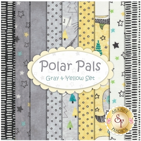 Polar Pals  9 FQ Set - Gray & Yellow Set by Northcott Fabrics