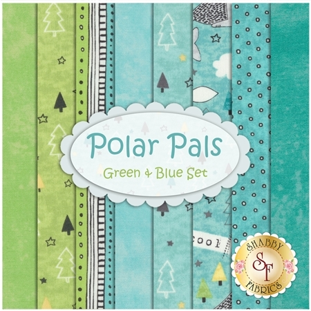 Polar Pals  8 FQ Set - Green & Blue Set by Northcott Fabrics
