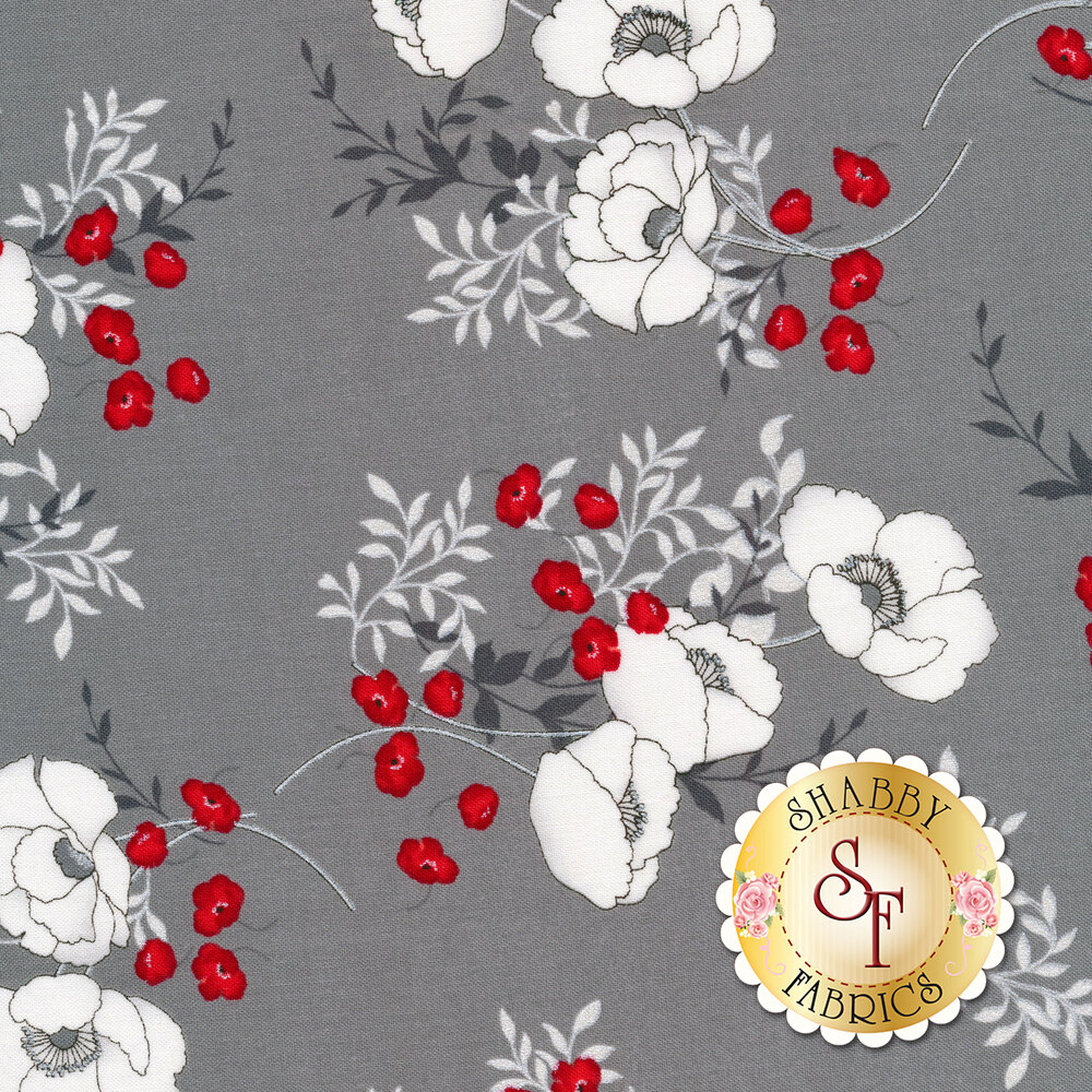Poppy bouquets all over gray | Shabby Fabrics