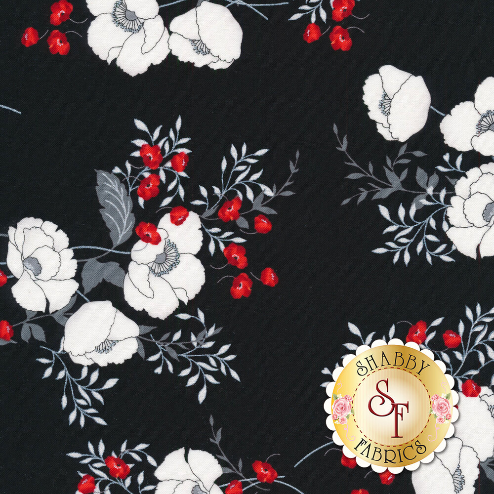 Poppy bouquets all over black | Shabby Fabrics