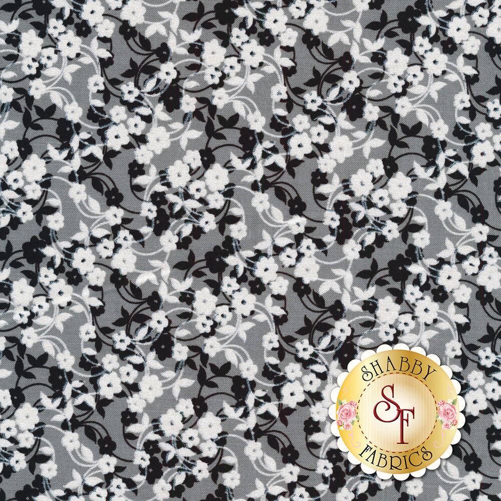 Black and white flowers on vines on gray | Shabby Fabrics