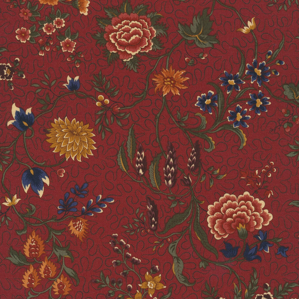 Primitive colorful flowers on a red background