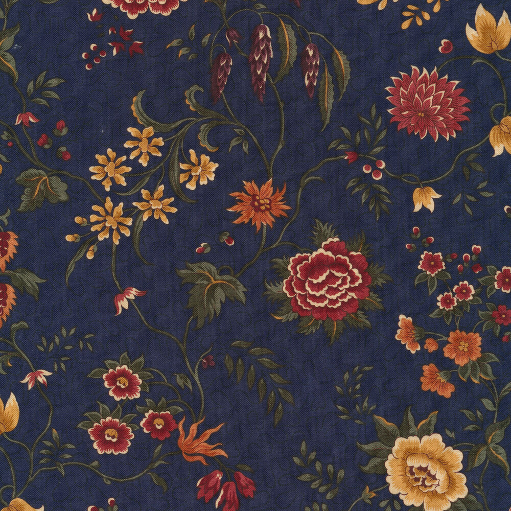 Primitive colorful flowers on a navy background