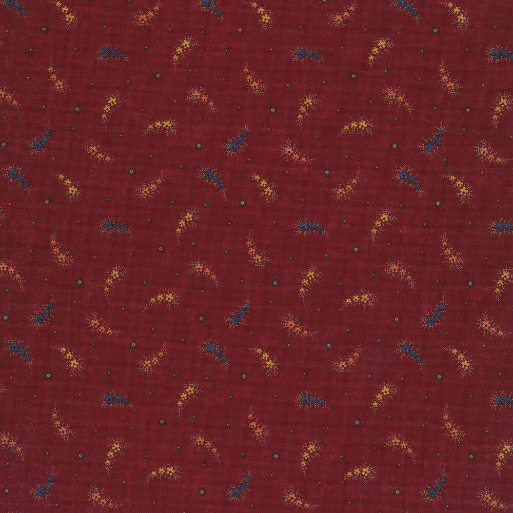 Primitive paisleys on a red background