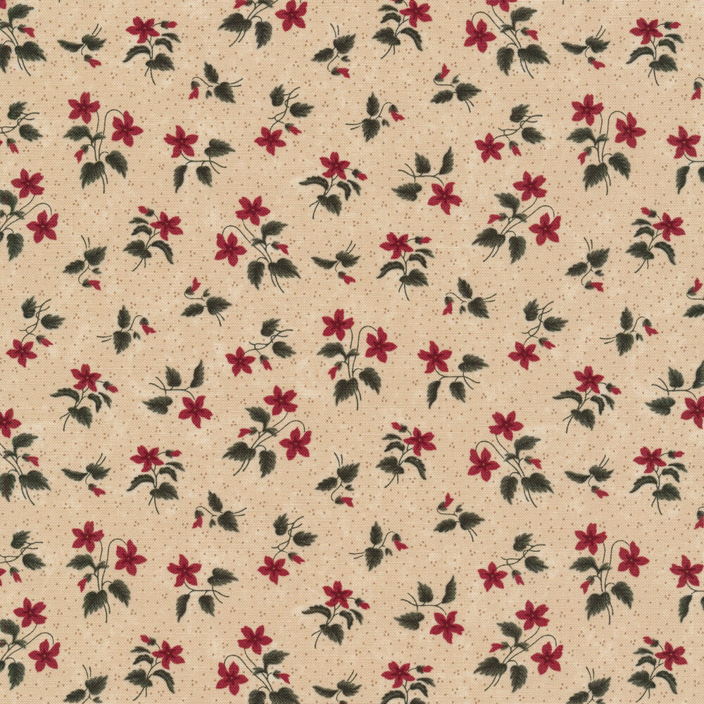 Tossed primitive flowers on a tan background