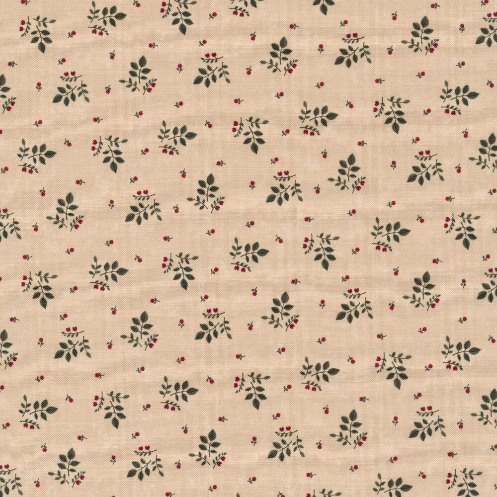 Tossed primitive leaves and flowers on a tan background