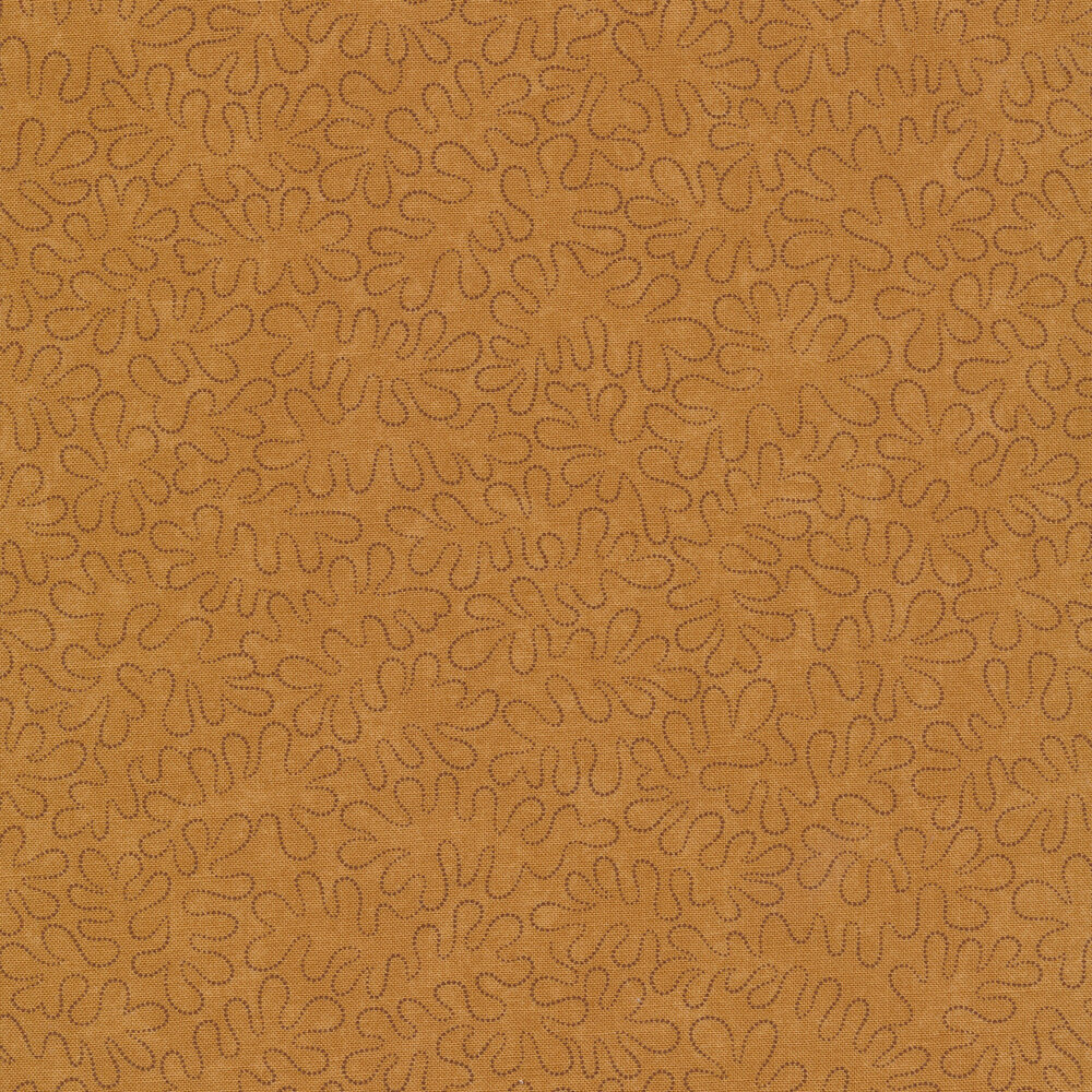 Black wavy dotted lines on a mottled dark tan background
