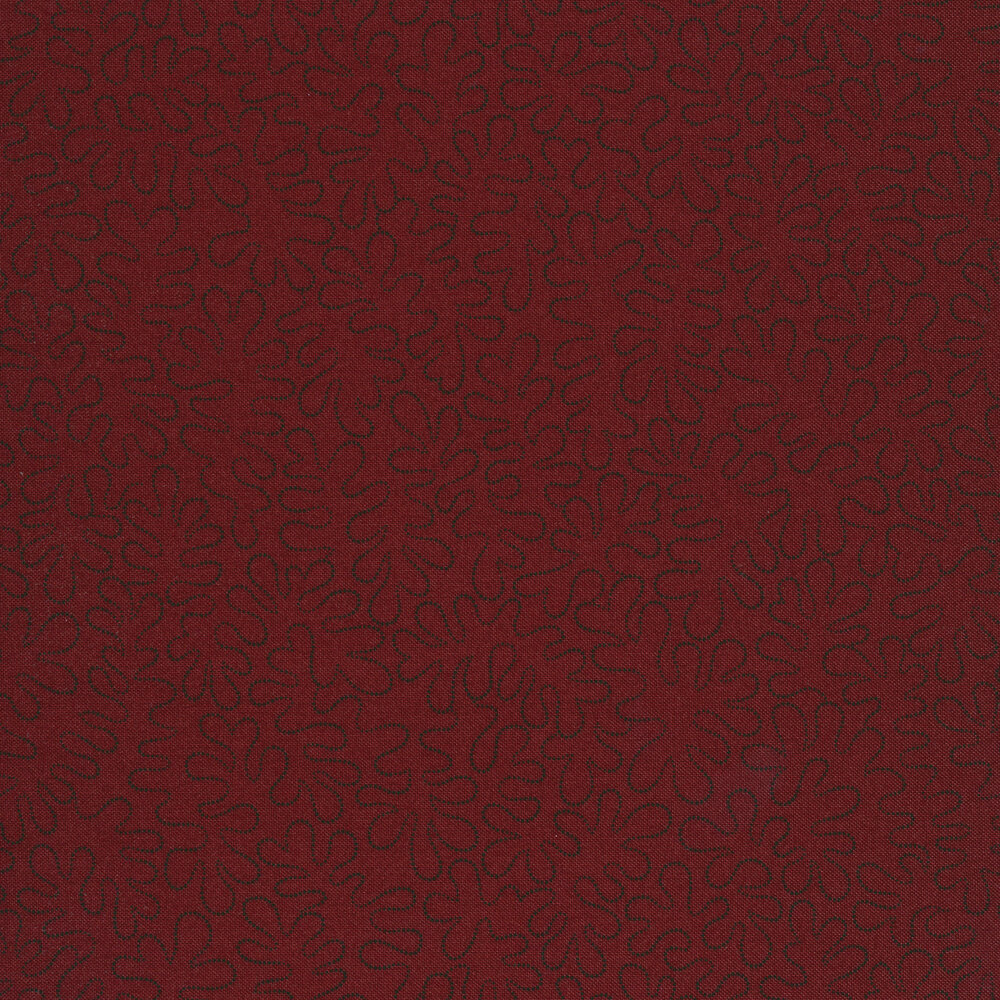 Black wavy dotted lines on a mottled dark red background