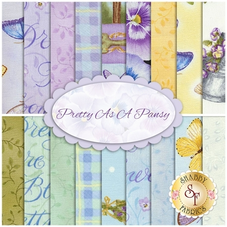 Pretty As A Pansy  18 FQ Set by Jane Shasky of Jane's Garden for Henry Glass Fabrics