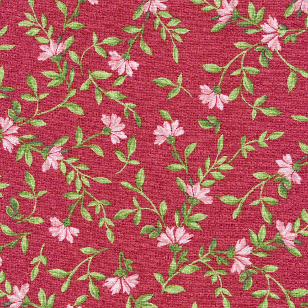 Green leaves and vines with pink flowers on a red background | Shabby Fabrics