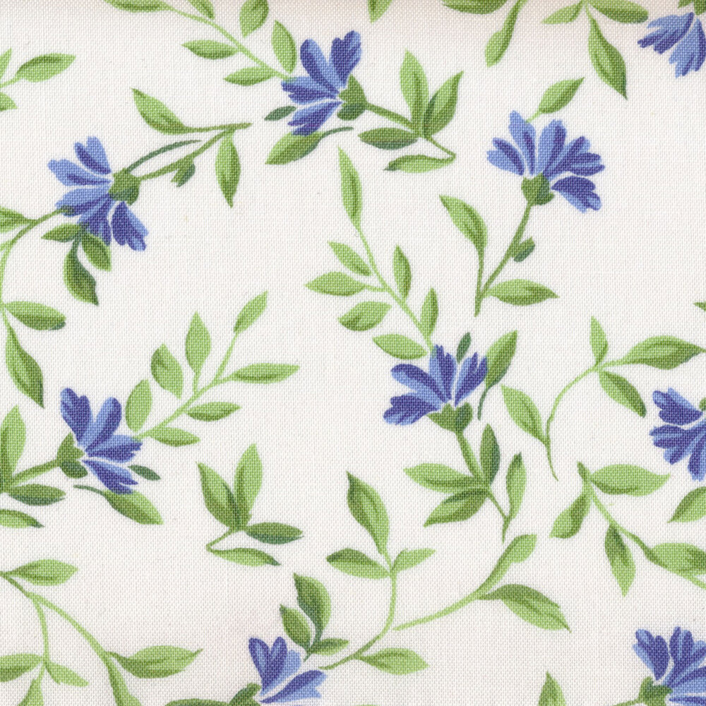 Green leaves and vines with blue flowers on a white background | Shabby Fabrics