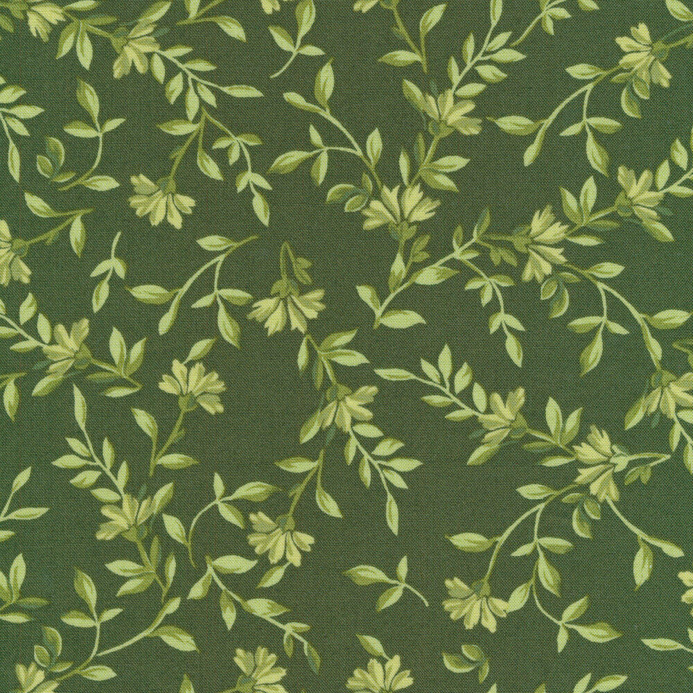 Tonal green leaves and vines on a green background | Shabby Fabrics
