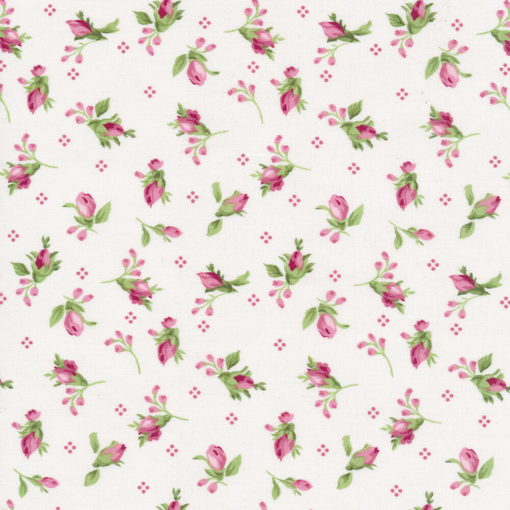 Tossed pink rose buds on a white background | Shabby Fabrics