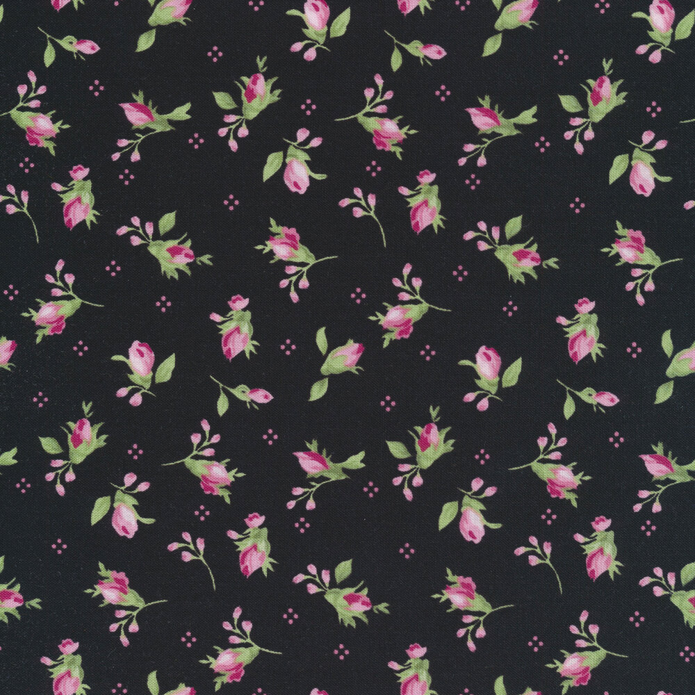 Tossed rose buds on a black background | Shabby Fabrics