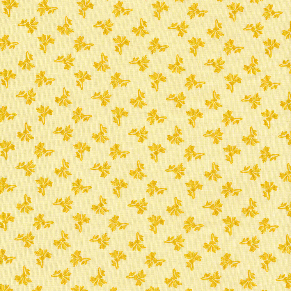 Tonal tossed yellow ditsy flowers on a yellow background | Shabby Fabrics