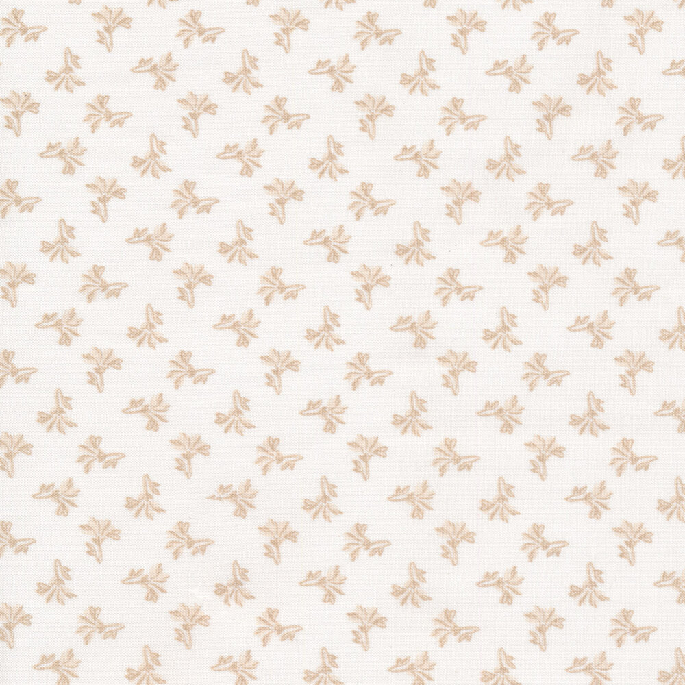 Tonal tossed tan ditsy flowers on a white background | Shabby Fabrics