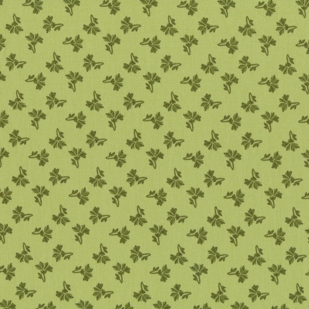 Tonal tossed green ditsy flowers on a green background | Shabby Fabrics