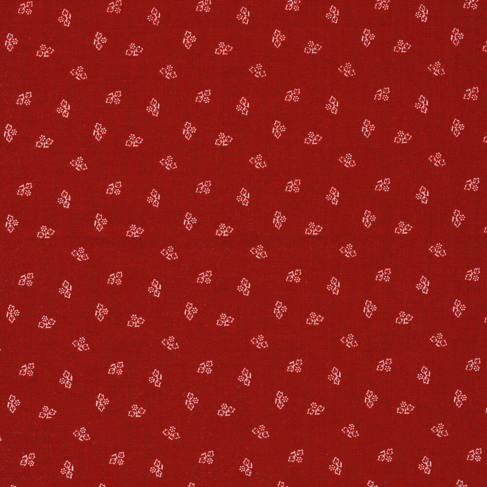Small white outlines of leaves and vines tossed on a red background | Shabby Fabrics