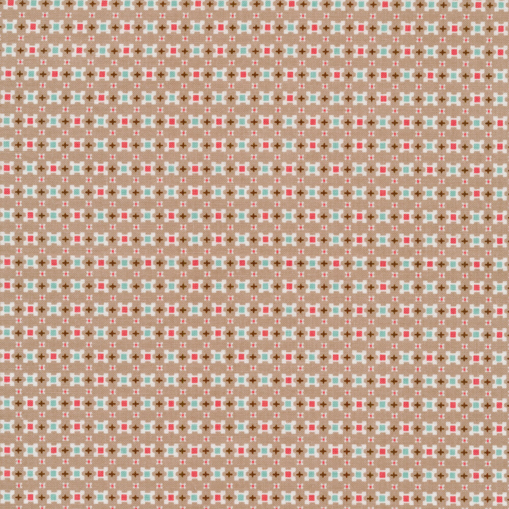 Small multi colored squares on a grey background | Shabby Fabrics
