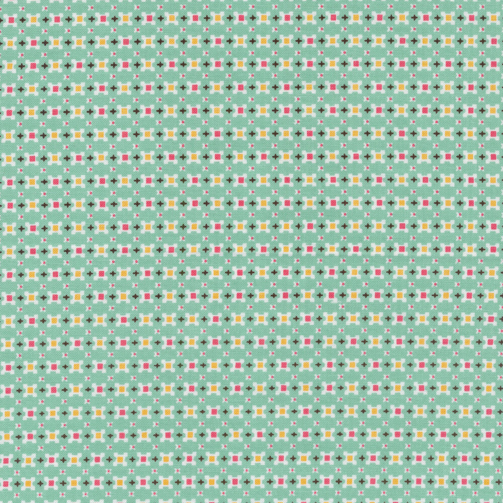 Small pink and yellow squares on a aqua background | Shabby Fabrics