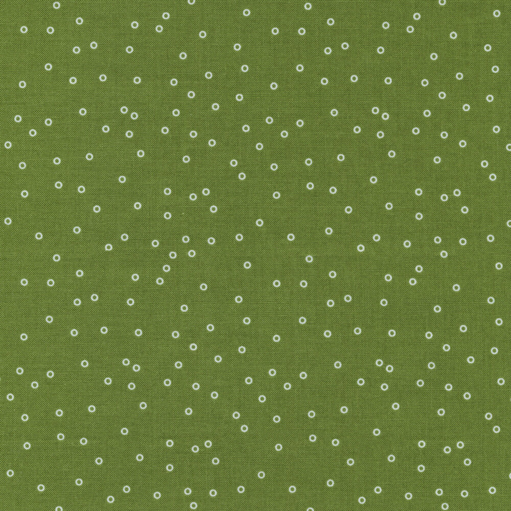 Small white rings on a solid green background | Shabby Fabrics