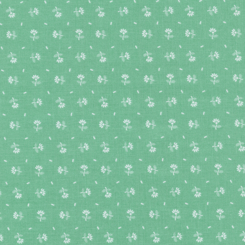 Small white ditsy flowers on an aqua background | Shabby Fabrics