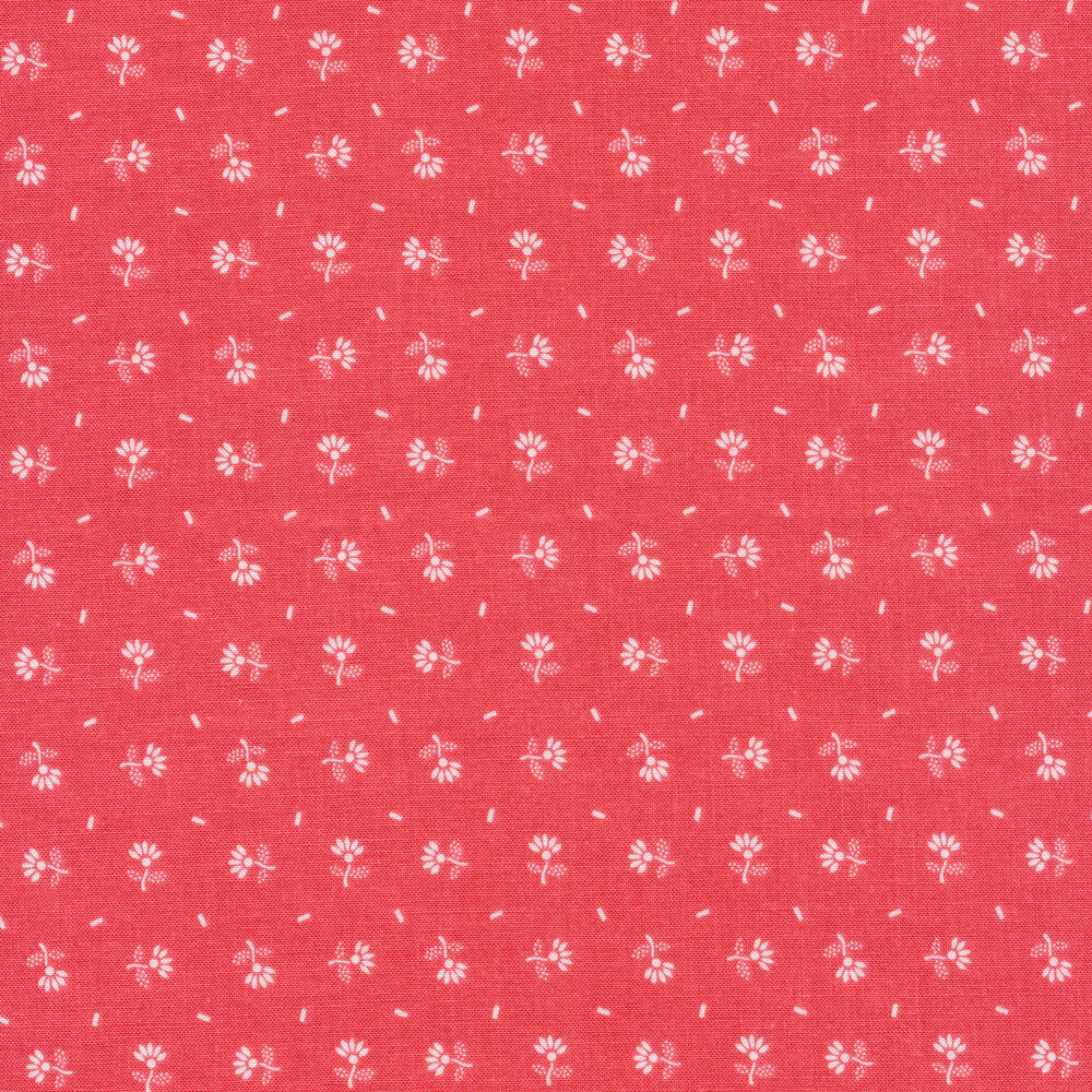 Small white ditsy flowers on a pink background | Shabby Fabrics