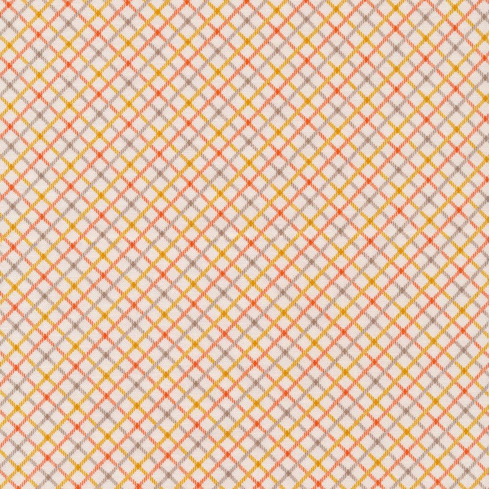 Yellow, orange, and grey crosshatch stripes on a cream background | Shabby Fabrics