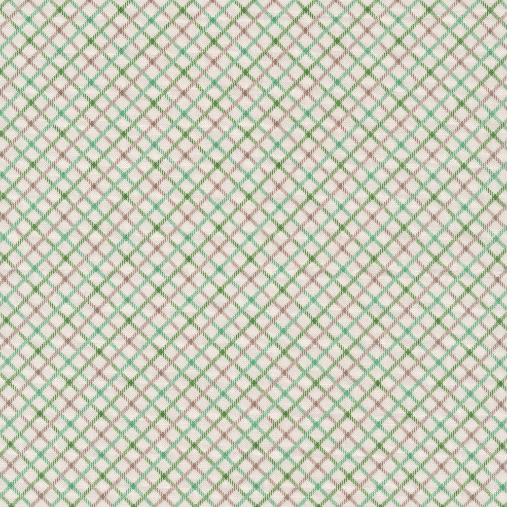 Green, teal, and grey crosshatch stripes on a white background | Shabby Fabrics
