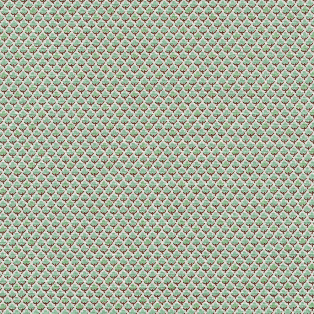 Rows of small aqua leaves on a white background | Shabby Fabrics