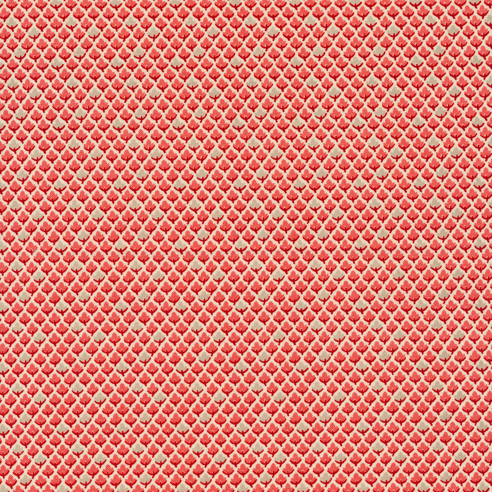 Rows of small pink and grey leaves on a white background | Shabby Fabrics