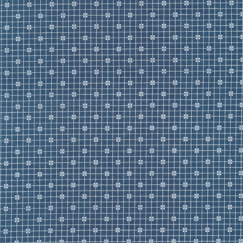 White square outlines all over a denim blue background   Shabby Fabrics