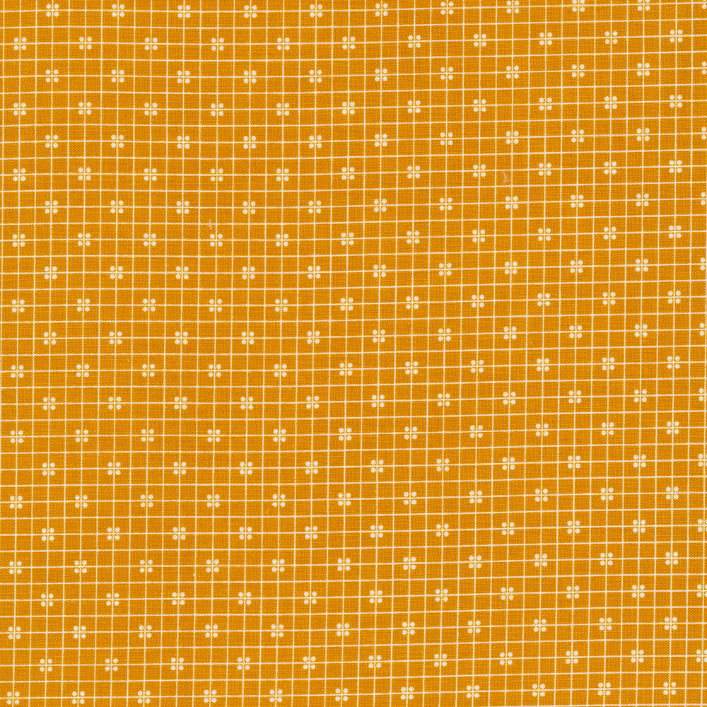 White square outlines all over a yellow background | Shabby Fabrics