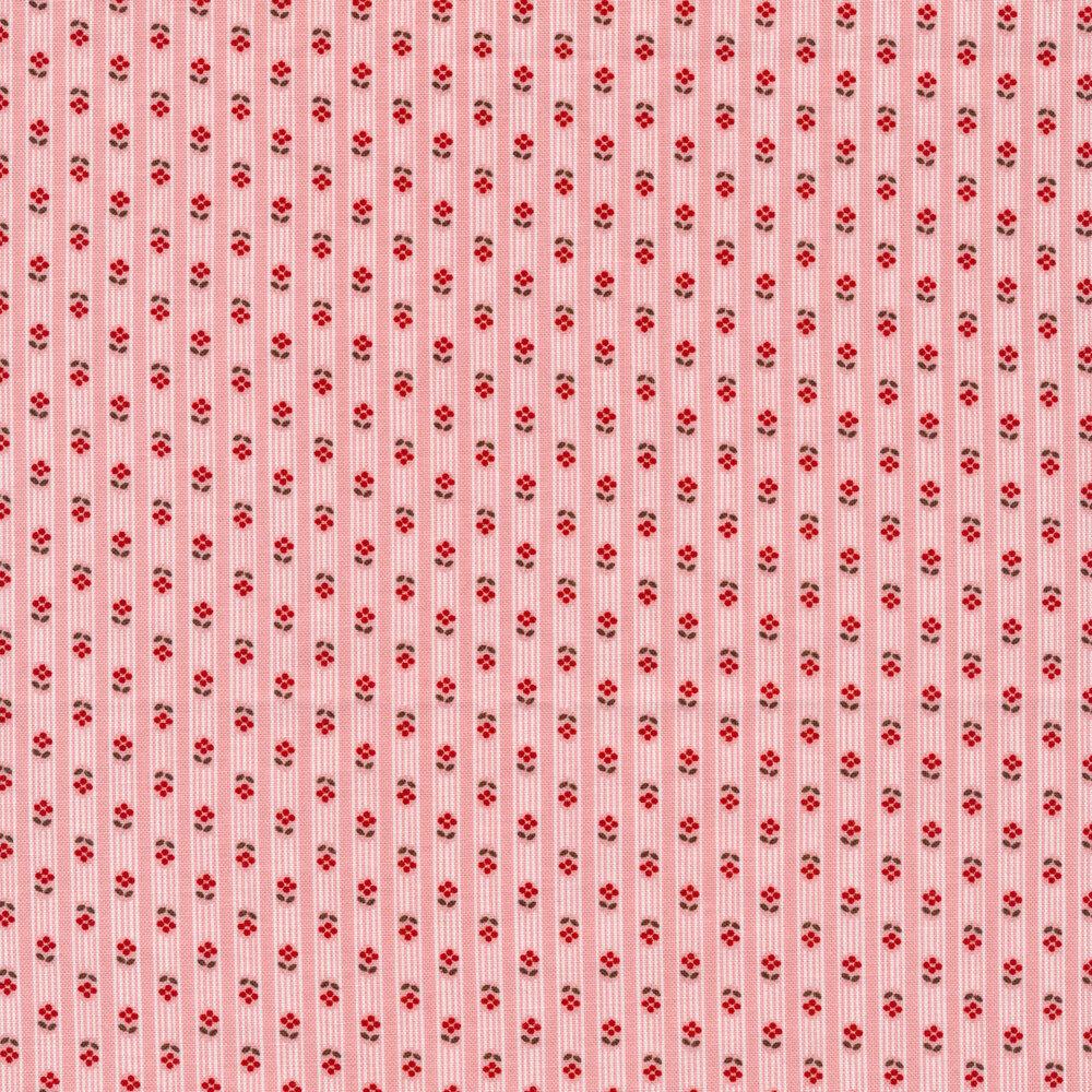 Tonal stripes with tiny flowers on a pink background | Shabby Fabrics