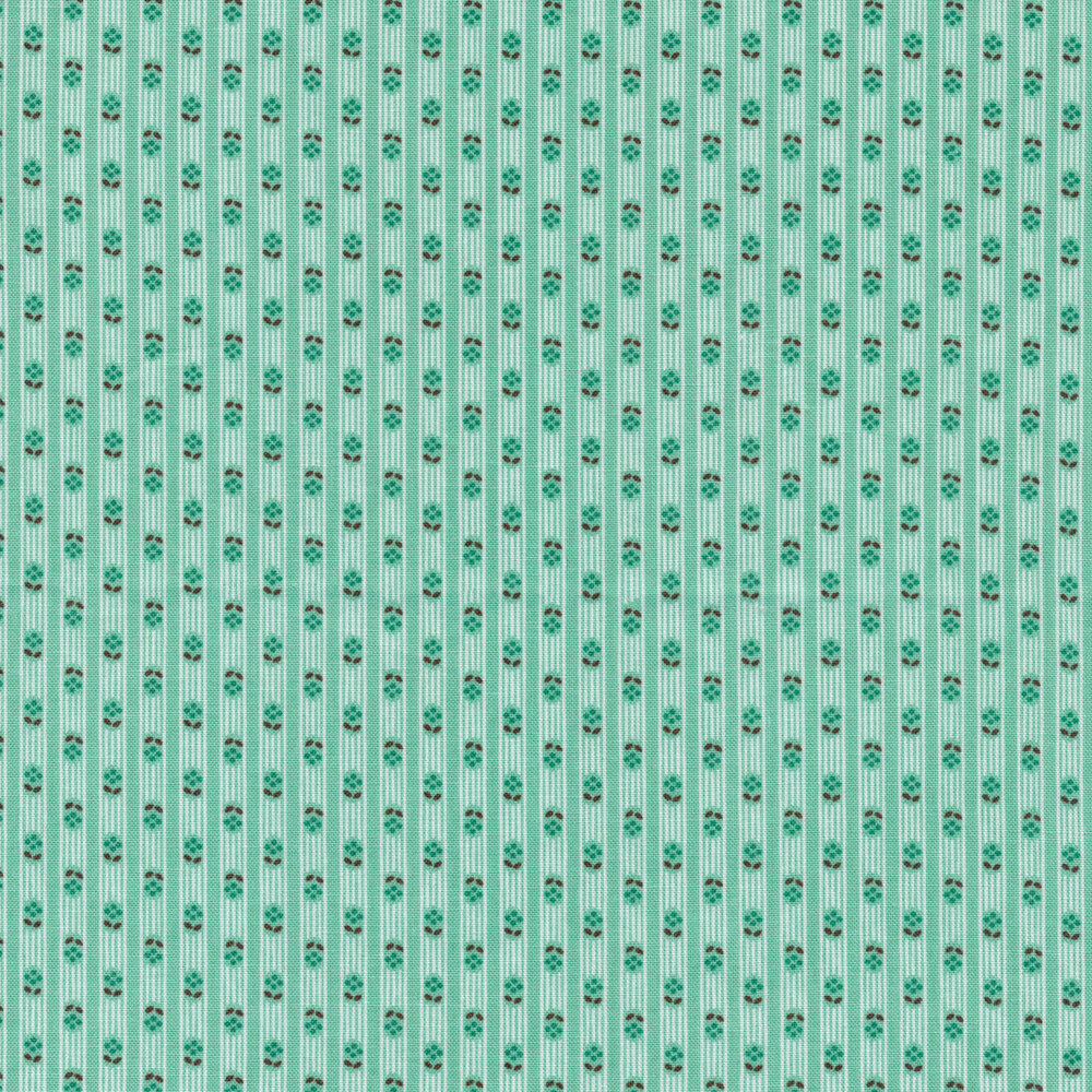 Tonal stripes with tiny flowers on an aqua background   Shabby Fabrics