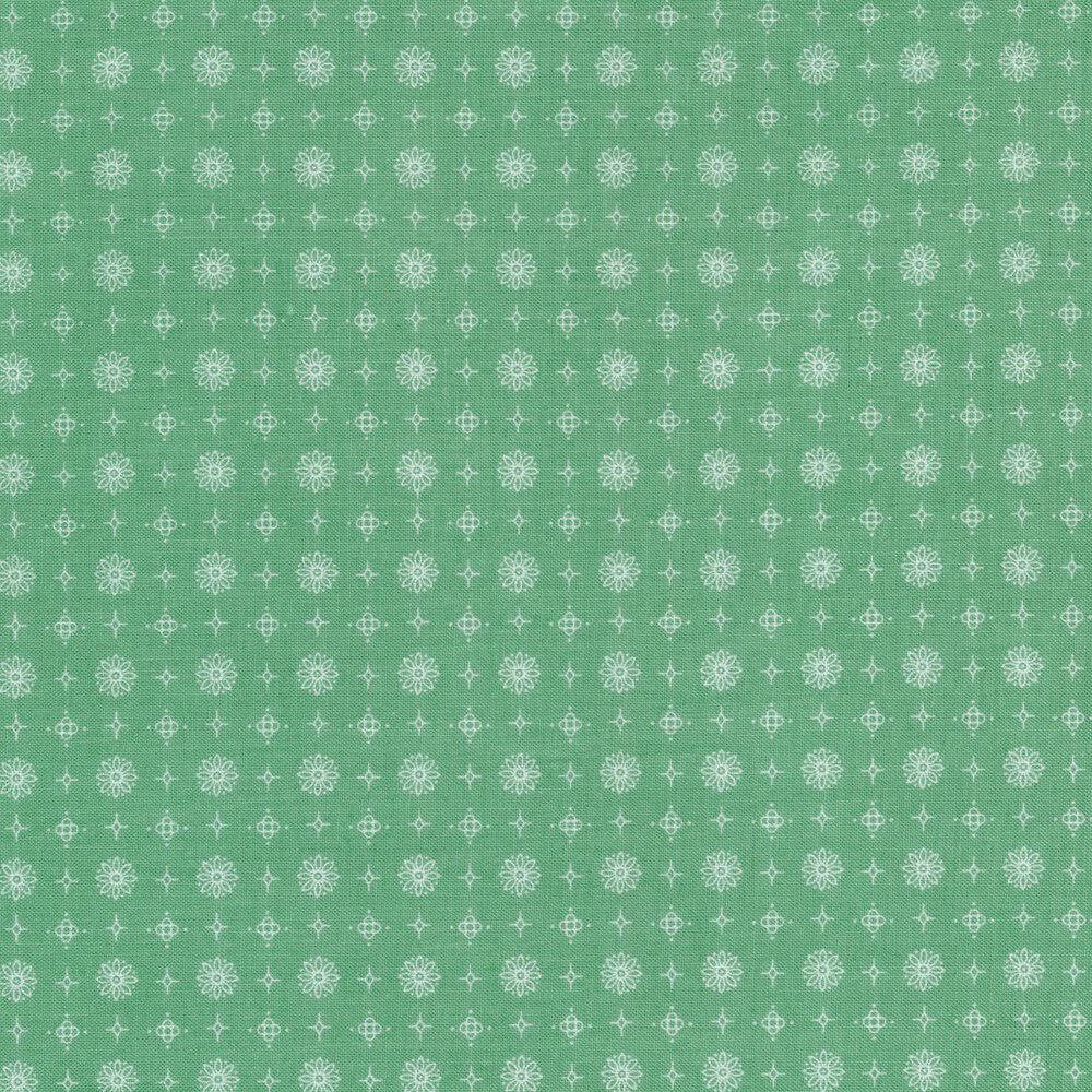 White flower, star, and diamond outlines on a green background | Shabby Fabrics