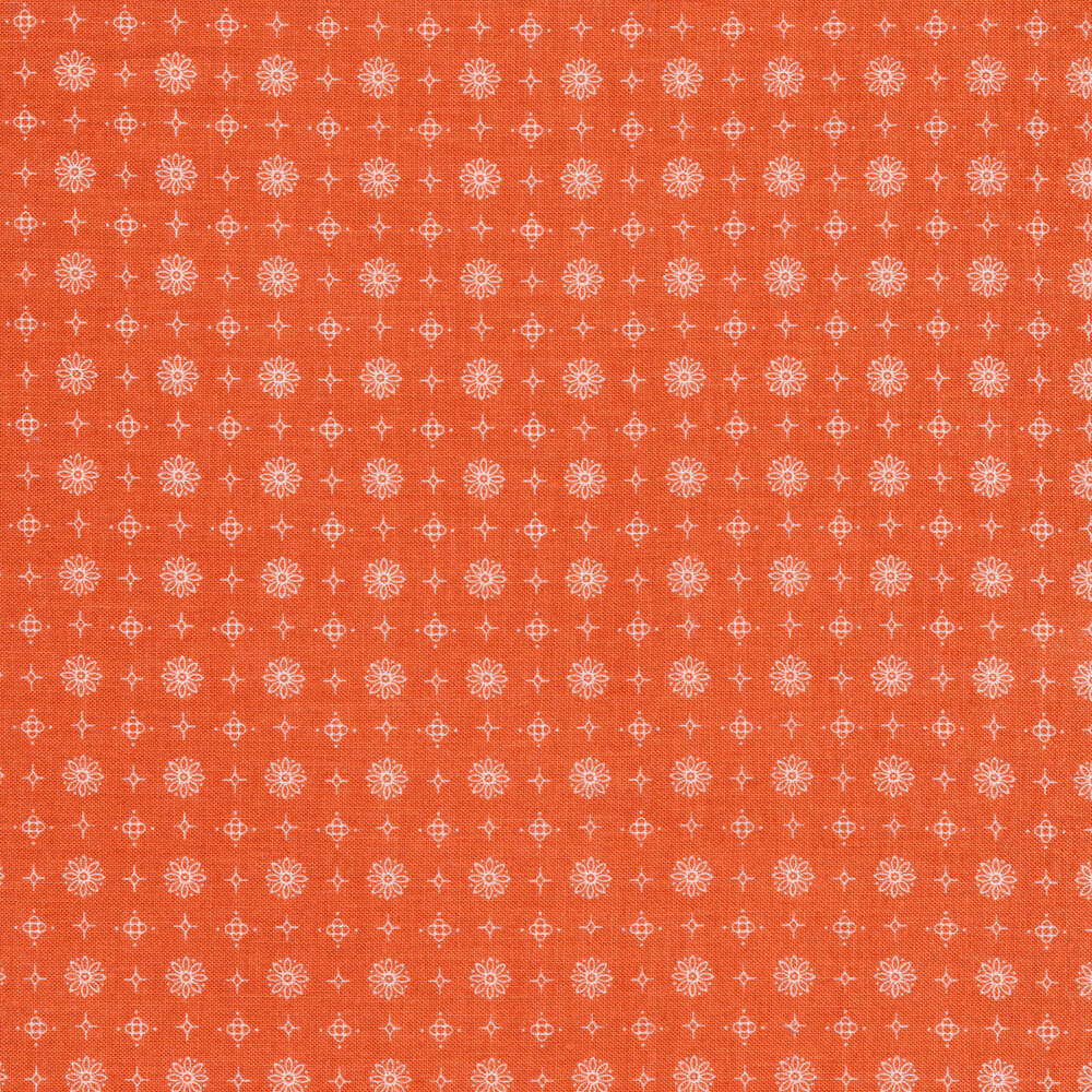 White flower, star, and diamond outlines on an orange background | Shabby Fabrics