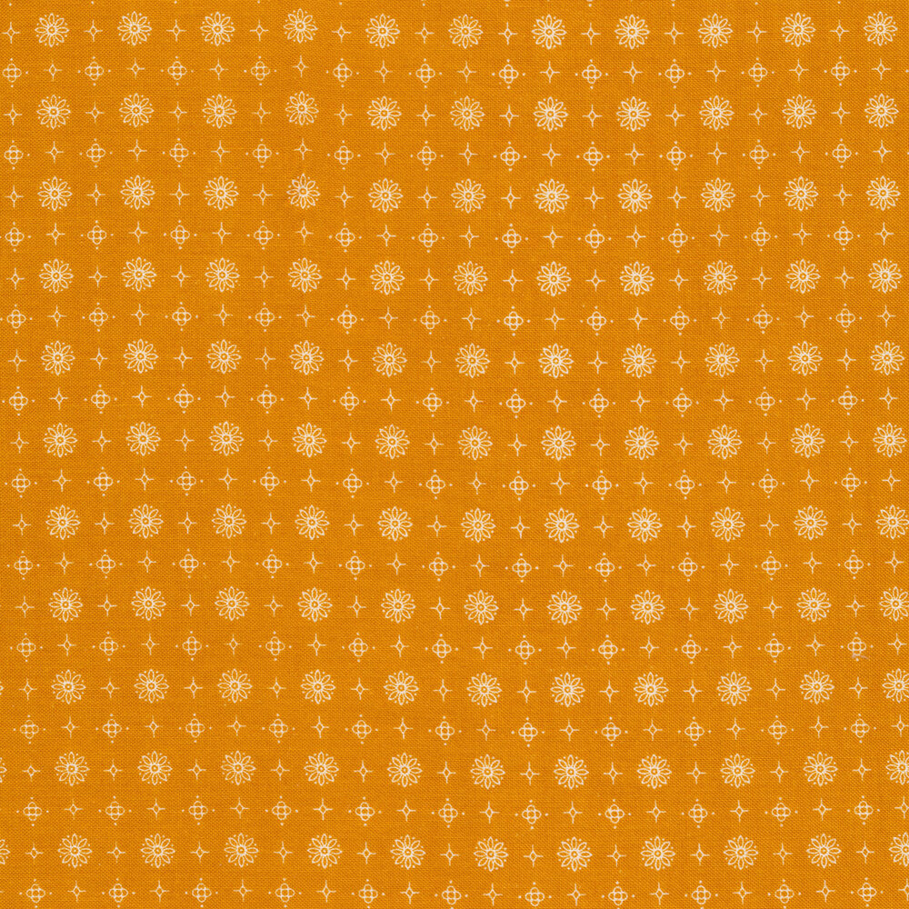 White flower, star, and diamond outlines on a yellow background | Shabby Fabrics