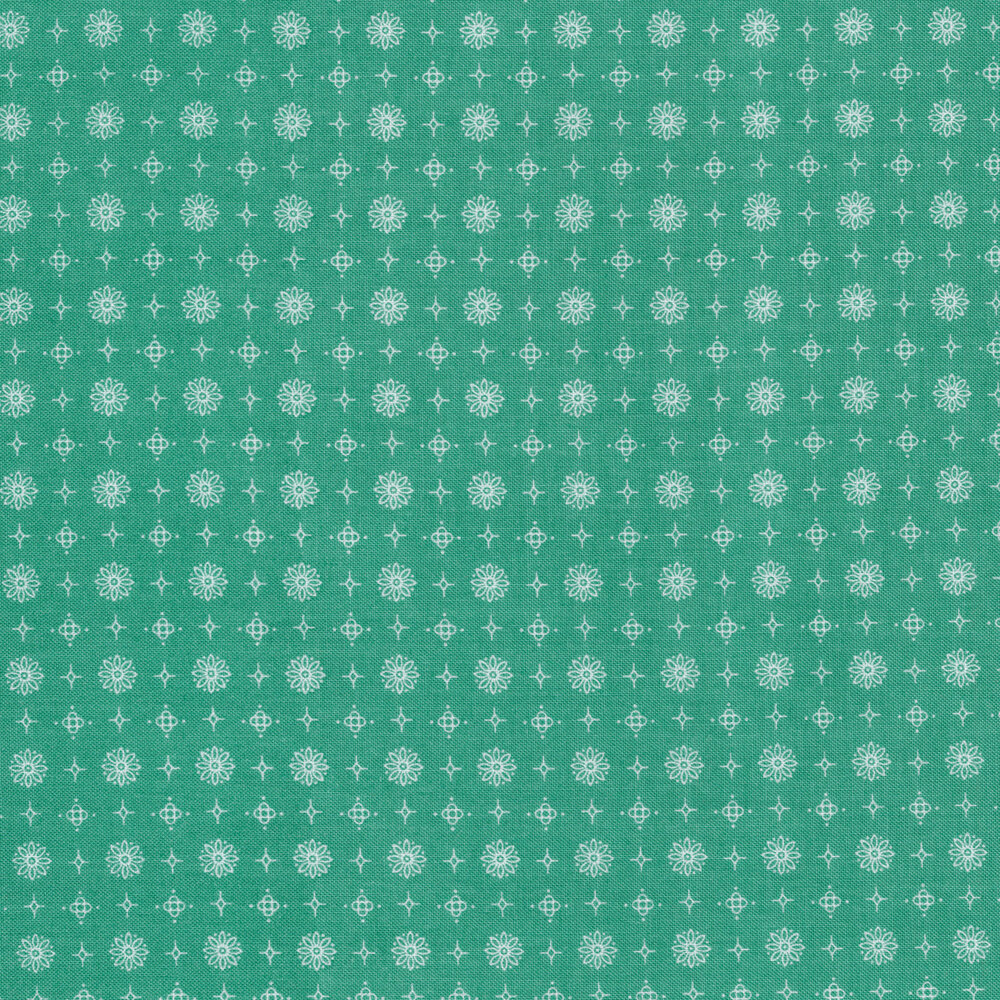 White flower, star, and diamond outlines on an aqua background | Shabby Fabrics