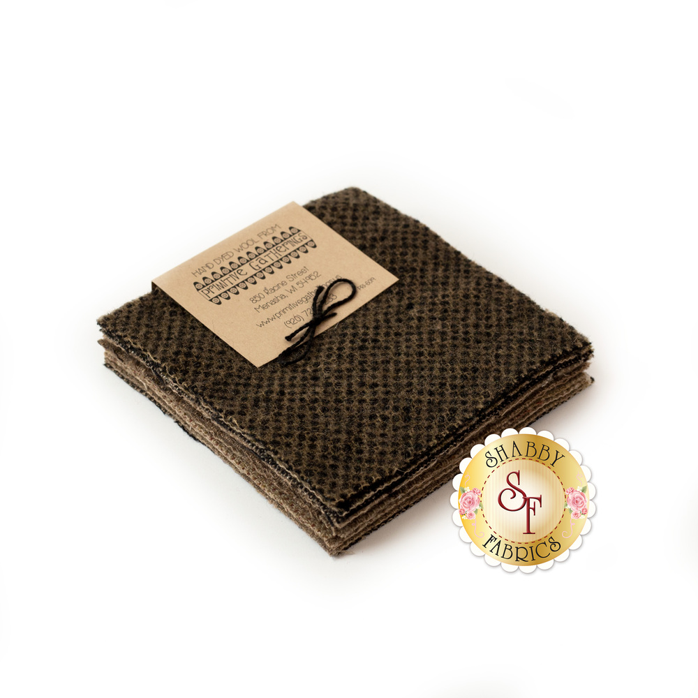 """Taupe colored 5"""" wool squares stacked on a white background"""