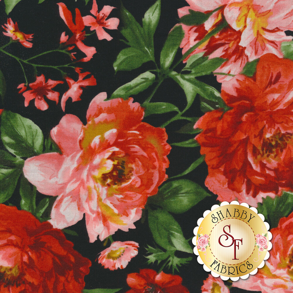 Red and pink flowers all over black   Shabby Fabrics