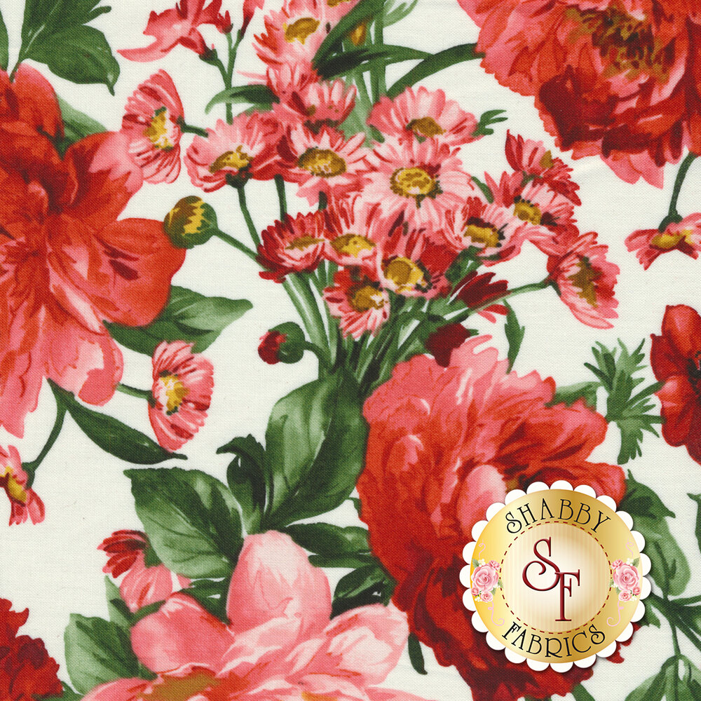 Red and pink flowers all over white | Shabby Fabrics