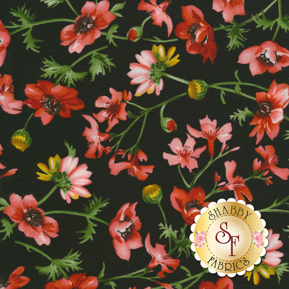 Red and pink flowers on green vines all over black | Shabby Fabrics