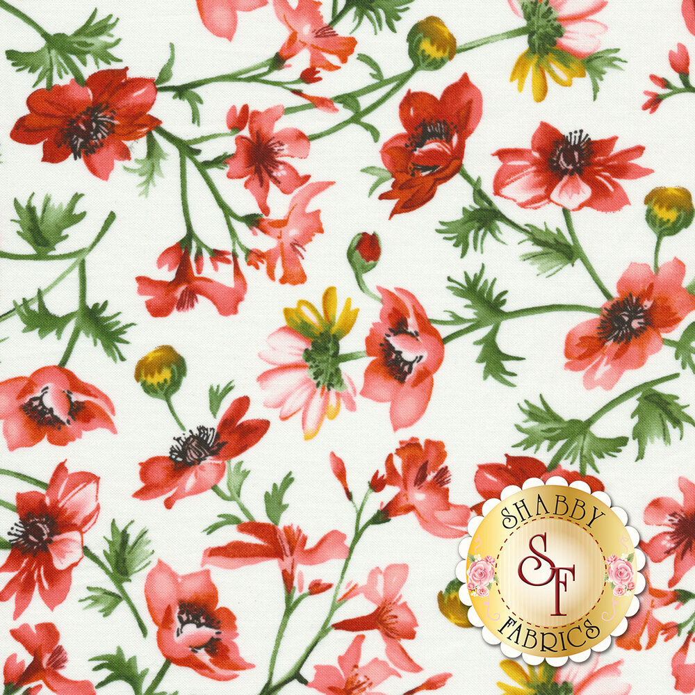 Red and pink flowers on green vines all over white | Shabby Fabrics
